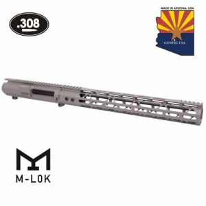 "AR .308 Cal Stripped Billet Upper Receiver & 15"" Mod Lite Skeletonized Series M-LOK Handguard Combo Set (Flat Dark Earth)"