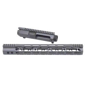 "AR .308 Cal Stripped Billet Upper Receiver & amp;15"" Mod Lite Skeletonized Series M-LOK Handguard Combo Set (OD Green)"