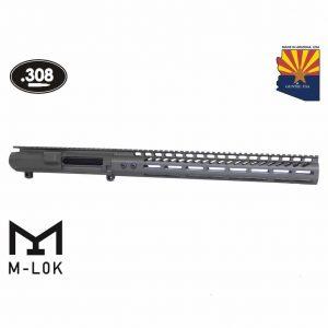 """AR .308 Cal Stripped Billet Upper Receiver & 15"""" Ultralight Series M-LOK Handguard Combo Set (OD Green)"""