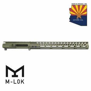 """AR-15 Stripped Billet Upper Receiver 15"""" Ultralight Series M-LOK Handguard Combo Set (Anodized Green)"""