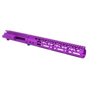 "AR-15 Stripped Billet Upper Receiver & 12"" Ultralight Series M-LOK Handguard Combo Set (Anodized Purple)"