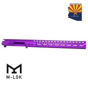 "AR-15 Stripped Billet Upper Receiver & 15"" Ultralight Series M-LOK Handguard Combo Set (Anodized Purple)"