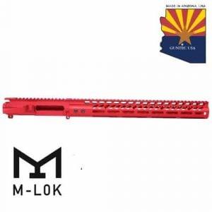 "AR-15 Stripped Billet Upper Receiver 15"" Ultralight Series M-LOK Handguard Combo Set (Anodized Red)"