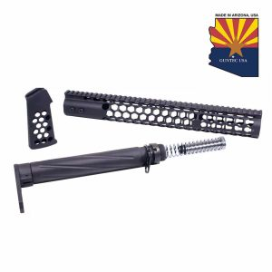 """AR-15 """"Honeycomb Series"""" Complete Furniture Set (Anodized Black)"""