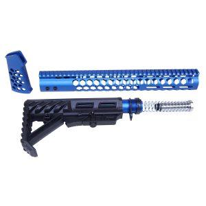 "AR-15 ""Honeycomb"" Series Complete Furniture Set (Gen 2) (Anodized Blue)"