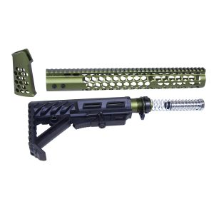"AR-15 ""Honeycomb"" Series Complete Furniture Set (Gen 2) (Anodized Green)"
