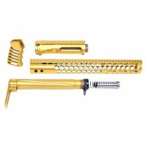 AR-15 High Polish Honeycomb M-LOK Series Complete Furniture Set W/ Matching Upper Receiver (Gen 2) (Anodized Gold)