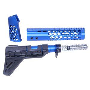AR-15 Honeycomb Pistol Furniture Set (Anodized Blue)