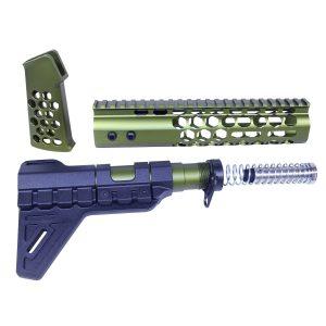 AR-15 Honeycomb Pistol Furniture Set (Anodized Green)