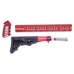 AR-15 Ultralight Series Complete Furniture Set (Anodized Red)