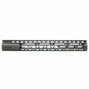 """15"""" Air Lite Series M-LOK Free Floating Handguard With Monolithic Top Rail (Anodized Green)"""